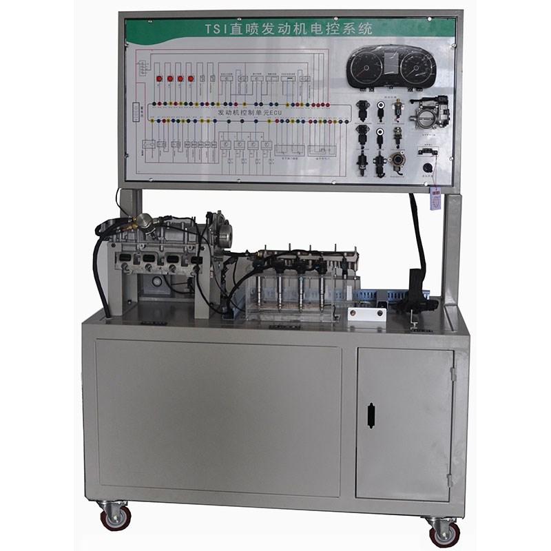 1、实训台采用大众原厂桑塔纳AJR发动机制作,包括:AJR发动机总成、发动机电控系统、发动机防盗系统、电源系统、点火装置、起动系统、充电系统、发动机燃油供给系统、排放系统、汽车仪表板总成、操作控制台、测量面板、OBD 11诊断接口、故障设置系统和移动支架。 2、操作控制台:用于启动和关闭发动机,油门踏板对发动机转速进行调节。包括汽车仪表板总成、点火开关、实训台电源总开关、油门踏板、燃油压力表和真空表。 3、测量面板;面板上有发动机电控系统电路图和4mm测量端子,通过万用表或示波器在测昂端子处检测电路元件的
