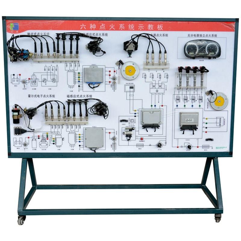 1、发动机电控系统示教板由6种点火系统、电源系统、点火装置、数字式点火频率表、曲轴位置传感器及模拟装置、电机驱动系统及调速装置、电机驱动系统及调速装置、汽车仪表板总成、测量面板、OBD2诊断接口、故障设置系统和移动支架等组成 2、展示六种形式的发动机电控系统。包括:触电式点火系统、霍尔效应式点火系统、光电点火系统、电磁式点火系统、无分电器电控点火系统和独立点火系统。 3、模拟发动机转动,充分演示点火系统工作过程 4、通过调速电机控制器可以调节驱动电机转速的快慢,点火频率表 5、无分电器电控点火系统还配置防